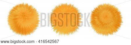 Fur Pompom. Fluffy Furry Orange Balls. Shaggy Downy Texture. Set Of Isolated Icons. Vector Illustrat