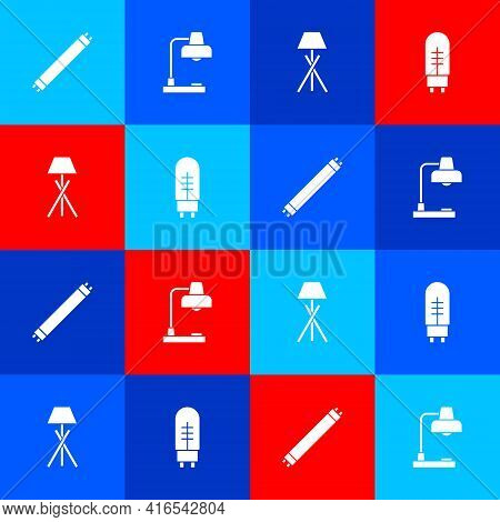 Set Fluorescent Lamp, Table, Floor And Light Emitting Diode Icon. Vector