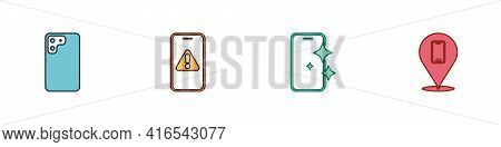 Set Smartphone, Mobile With Exclamation Mark, Glass Screen Protector And Phone Repair Service Icon.