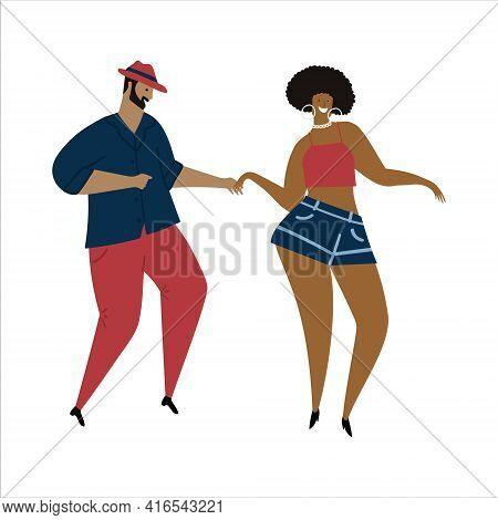 Hand Drawn Vector Illustration Of A Couple Dancing Sexy Fun Bachata, Salsa, Mambo, Dance. Isolated O