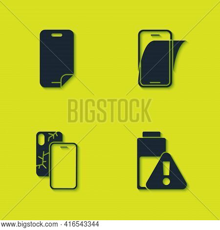 Set Glass Screen Protector, Smartphone Battery Charge, Mobile With Broken And Icon. Vector