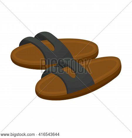 Sandal Vector Cartoon Icon. Vector Illustration Flipflop On White Background. Isolated Cartoon Illus