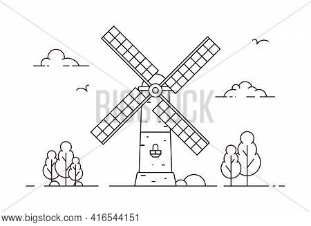 Rural Landscape With Old Windmill. Coloring Page. Vector Outline Illustration In Flat Style
