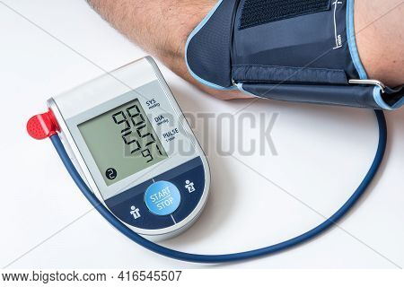 Blood Pressure Monitor With Low Pressure Level On Screen - Hypotension Concept