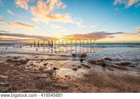 Iconic Port Willunga Jetty Sticks At Sunset, Fleurieu Peninsula, South Australia