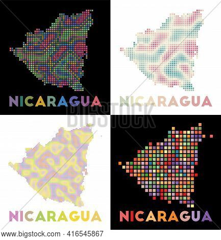 Nicaragua Map. Collection Of Map Of Nicaragua In Dotted Style. Borders Of The Country Filled With Re