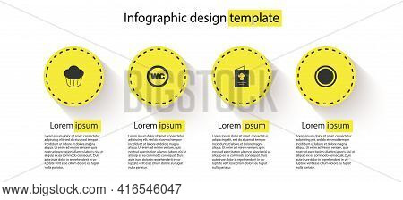 Set Cupcake, Toilet, Cookbook And Plate. Business Infographic Template. Vector