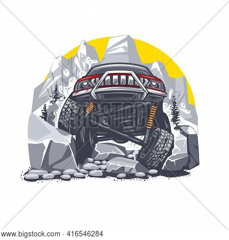 Illustration Of An Off-road Red Car Overcoming Difficult Obstacles In The Mountains. Can Be Used For