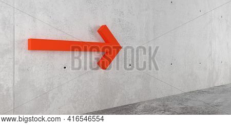 Orange Red Arrow On Concrete Wall Pointing To The Right, Direction, Business Plan Or Way Symbol Mini