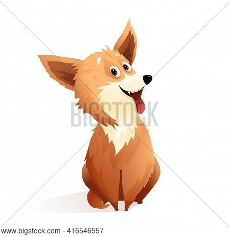 Happy Dog Smiling With Tongue Out, Funny And Fluffy Puppy Mascot. Playful Silly Pup Illustration. Ve