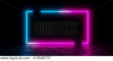 Modern Futuristic Abstract Blue, Red And Pink Neon Glowing Light Open Frame Design In Dark Room Back