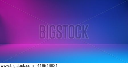 Blue Room With Pink Spotlight, Modern Neon Abstract Walls Background, 3d Illustration