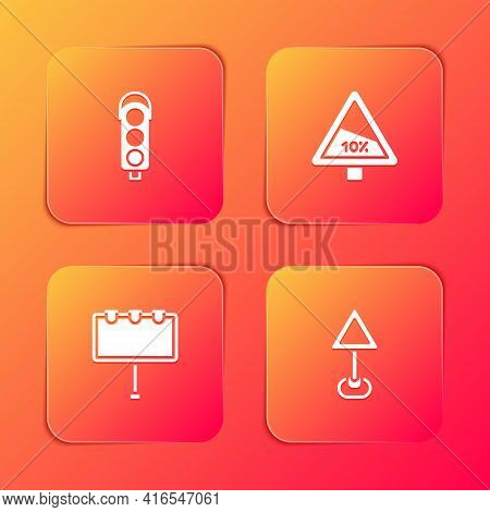 Set Traffic Light, Steep Ascent And Descent Road, Billboard With Lights And Triangle Warning Blank I