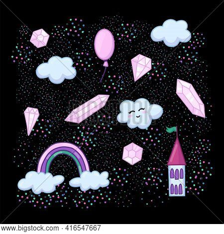 Cute Objects, Cloud And Crystals, Rainbow, Baby Girly Characters. Vector Illustration, Print For Bab