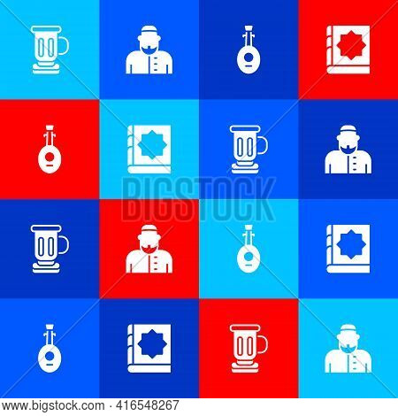 Set Medieval Goblet, Muslim Man, Lute And Holy Book Of Koran Icon. Vector