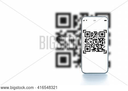 Scan Qrcode. Digital Mobile Smart Phone With Qr Code Scanner On Smartphone Screen For Payment, Onlin
