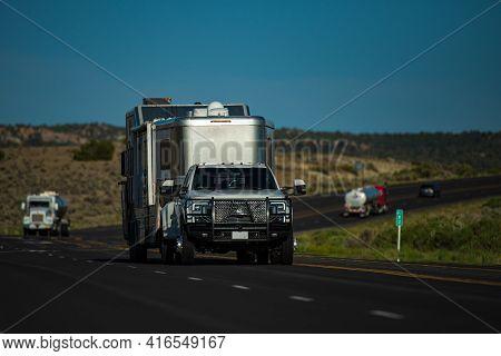 Traveling In Camper Van. Exploring The Usa. Family Vacation Travel Rv, Holiday Trip Vacation. Motorh