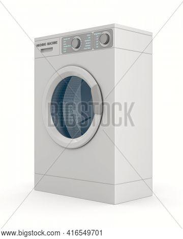 washing machine on white background. Isolated 3d illustration