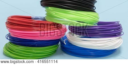 color plastic PLA and ABS filament for printing on a 3D printer
