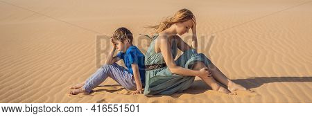 Banner, Long Format Relationship Problems Between Mother And Son. Family Conflict. Mom And Son Have