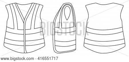 Safety Vest Vector Illustration On White Background . Jacket Of Worker Vector Outline Set Icon. Isol