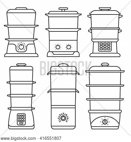Steam Cooker Isolated Outline Set Icon. Vector Illustration Steamer On White Background. Vector Outl