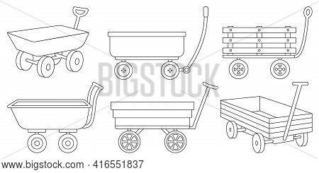 Garden Wagon Outline Vector Illustration On White Background. Farm Wheelbarrow Set Icon.vector Illus