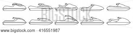 Jet Ski Vector Outline Set Icon. Vector Illustration Scooter On White Background. Isolated Outline S