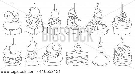 Canape And Food Outline Vector Set Illustration Of Icon.food And Appetizer Vector Set Of Icon.canape