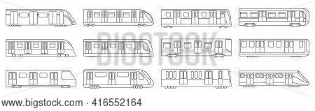 Subway Train Vector Illustration On White Background .set Outline Icon Transport Metro.vector Illust