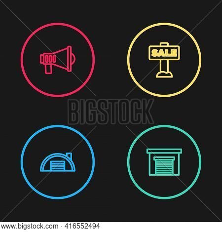 Set Line Warehouse, Garage, Hanging Sign With Sale And Megaphone Icon. Vector