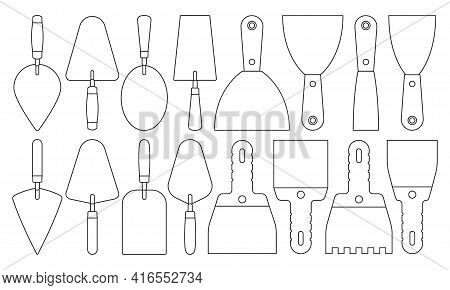 Trowel Isolated Outline Set Icon. Vector Illustration Spatula On White Background. Vector Outline Se
