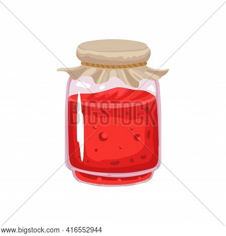 Jam In A Jar, Berry Fruit Jam In A Closed Jar. Vitamins, Sweet Dessert. Vector Isolated Illustration