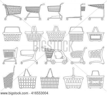 Trolley Isolated Outline Set Icon. Vector Outline Set Icon Shopping Basket. Vector Illustration Trol