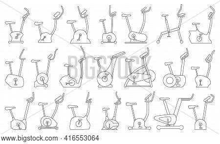 Exercise Bike Vector Outline Set Icon. Isolated Outline Set Icon Fitness Bicycle.vector Illustration