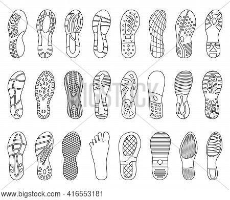 Footprint Shoe Vector Outline Set Icon. Vector Illustration Sole On White Background. Isolated Outli