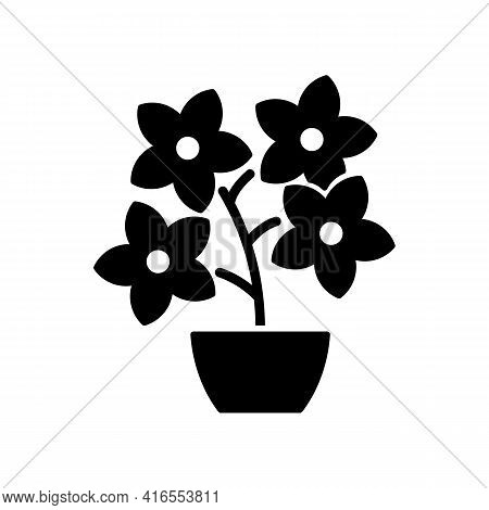 Flowering Tree Shrubs Black Glyph Icon. Creating Beatiful Landscape Near Home With Use Of Flowers. S