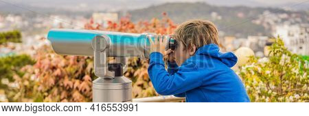 Binoscope. Stationary City Binoculars. A Boy Looks At The City Through A Binoscope Banner, Long Form
