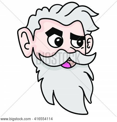 Emoticon Of The Old Man With Stern Faced Beard, Doodle Draw Kawaii. Vector Illustration Art