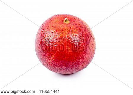 Bloody Orange Whole Isolated On White Background. Red Sicilian Orange Fruit As Package Design Elemen