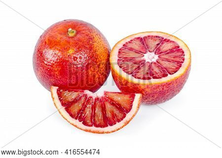 Bloody Oranges Whole And And Cut In Half Isolated On White Background. Red Sicilian Orange Fruit As