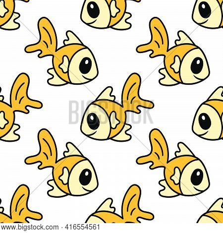Goldfish Fish Head Seamless Textile Print. Great For Summer Vintage Fabric, Scrapbooking, Wallpaper,
