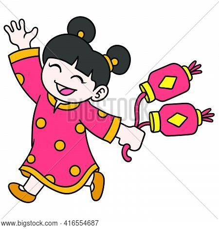 A Chinese Girl Named Ling Ling Is Celebrating Chinese New Year Carrying Lanterns, Doodle Draw Kawaii