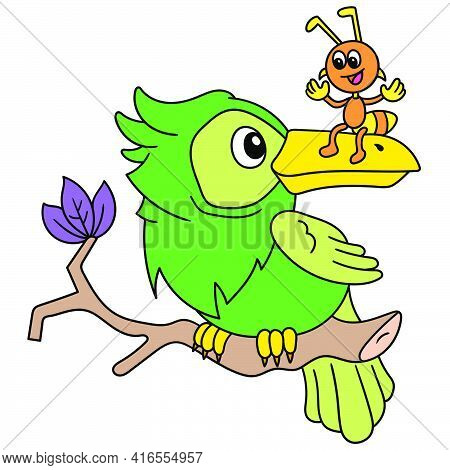 Parrots And Ants Are Friendly Together Chatting With Each Other, Doodle Draw Kawaii. Vector Illustra