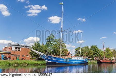 Haren, Germany - May 09, 2020: Historic Sailing Ship At The Quayside In Haren, Germany