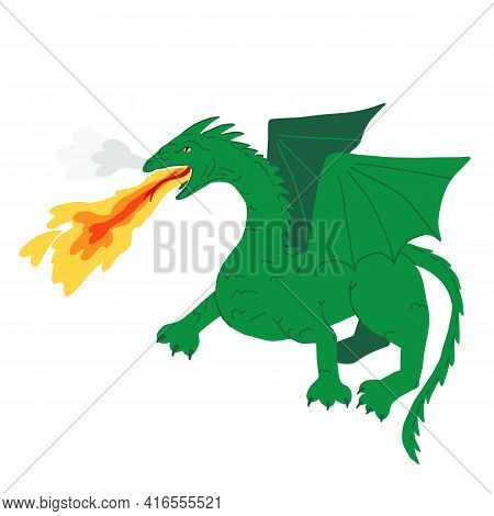 A Mythical Creature, Frightening Green Dragon Spews Flame And Smoke From Its Mouth. Cartoon Vector I