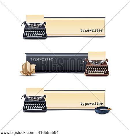 Typewriter Horizontal Banners Set With Realistic Paper Sheet Isolated Vector Illustration