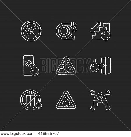Fire Safety Guidelines Chalk White Icons Set On Black Background. No Open Flame. Explosion Risk. Esc