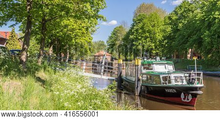 Haren, Germany - May 09, 2020: Panorama Of Boats In The Canal Of Haren, Germany