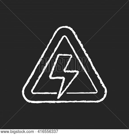 High Voltage Chalk White Icon On Black Background. Precaution For Power Outage. Danger Label For Ele